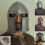 14 Gauge T-Face Barbute Helmet - Leather Lined With Chin Strap